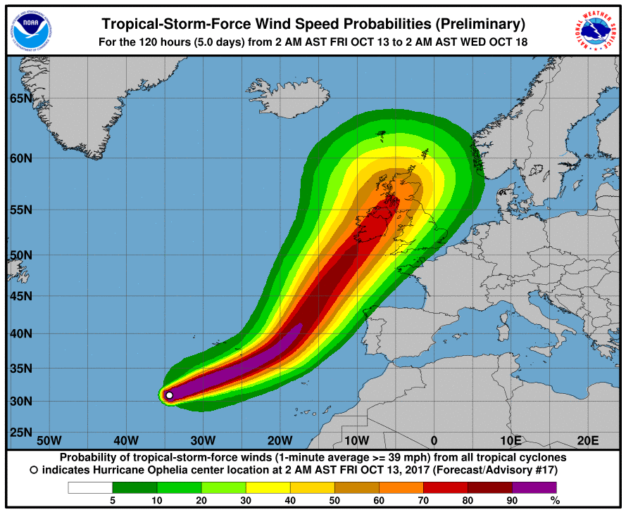 Hurricane Ophelia continues in Atlantic