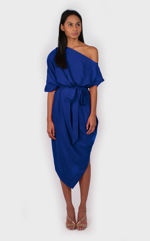 Ava: Off the shoulder | dress/blue